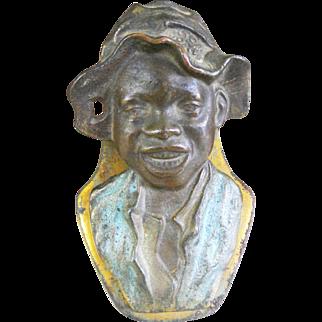 Early 1900's Judd Cast Iron Letter Paper Desktop Clip Johnny Griffin Figural Boy Black Americana