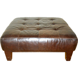 Brown Tufted Leather Large Ottoman Pottery Barn 1990s Sullivan Pub Library