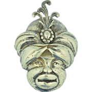 Sterling Silver Blackamoor Genie Sultan Pin ~ Brooch