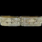 Portugal 833 Silver Napkin Rings (Set of 2) Pao Vinho E Flores (Bread Wine & Flowers)