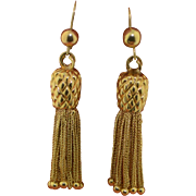 14K Tassel Dangle Pineapple Earrings