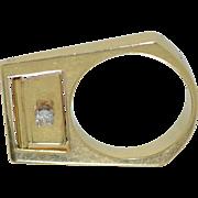 Articulated 14K & Diamond Modernist Ring