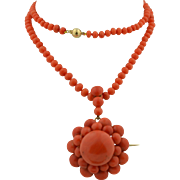 Exceptional Victorian 14K Natural Mediterranean Coral Necklace