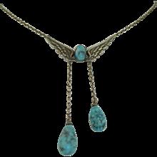 Art Nouveau Angel Wings Art Glass Necklace