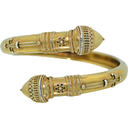 Victorian Sterling Silver Etruscan Bypass Bracelet