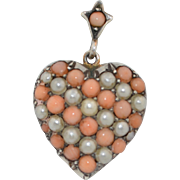Victorian Pave Coral & Pearl Heart Locket Pendant Sterling Silver