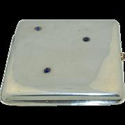 Art Deco Sapphire & 800 Silver Cigarette ~ Card Case  German