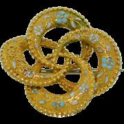 Victorian 10K Eternity Knot Enamel Forget Me Knot Flower Pin Brooch