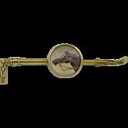 Victorian 14K Reverse Painted Jockey Horse Intaglio Pin Brooch
