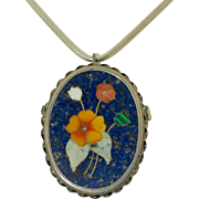 Edwardian Pietra Dura Sterling Silver Natural Stone Pendant ~ Brooch
