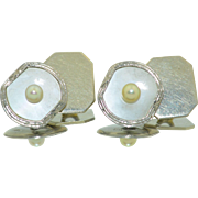 Art Deco 10K White Gold Mother of Pearl MOP and Pearl Cufflinks