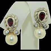 Vintage 14K White Gold Garnet Diamonds and Pearl Earrings