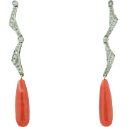 18K Natural Coral & Diamond Long Dangle Earrings