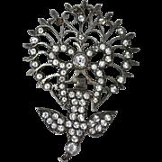 French Antique Sterling Silver & Quartz Crystal 'Saint Esprit' Bird Pendant