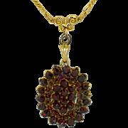 Victorian Bohemian Garnet Locket 9K & 800 Silver Gold Gilt Necklace