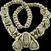 Wonderful Squash Blossom Amethyst & Sterling Silver Necklace