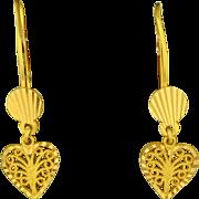 21K Yellow Gold Heart Dangle Earrings
