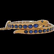Victorian 8.6 CTW Sapphire Snake Serpent 18K Bracelet