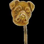 Victorian 10K Pug Bulldog Stick Pin