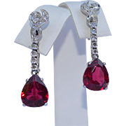 18K Rubellite (Red Tourmaline 6 Carats) and Diamond Earrings