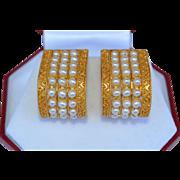 22K Yellow Gold and Pearl Huggie Earrings