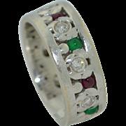 18K White Gold Eternity Band With Diamonds Emeralds & Rubies SZ 7 1/2