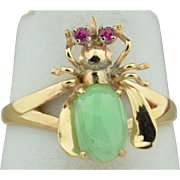 14K & 10K Insect Bug Ring with Rubies & Jadeite