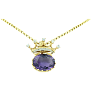 14K Amethyst Diamond & Moonstone Crown Pendant - Brooch