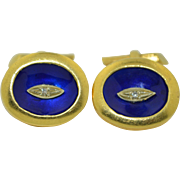 European 18k Diamond and Royal Blue Enamel Cufflinks 21.5 grams