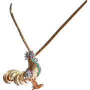Retro 14K White & Yellow Gold Rooster with Rubies Diamonds and Emeralds Pendant ~ Pin