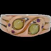 Victorian Catseye Chrysoberyl & Ruby 12K Rose Gold Snake Ring