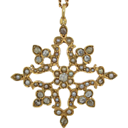 Early Victorian 14K Rose Cut Diamond and Pearl Necklace