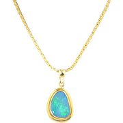 Natural Boulder Opal Set in 14K Yellow Gold Necklace - Pendant