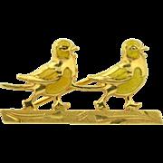 18K Yellow Enamel Sweet love Bird Brooch