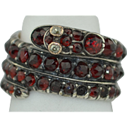 Georgian Coiled Snake Eternity Ring with Garnets and Diamonds