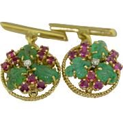 18K Cufflinks with Hand Carved Emeralds Rubies and Diamonds