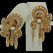 14K Yellow Gold Seed Pearl Dangle Earrings