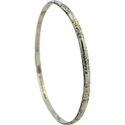 Delicate Sterling Silver Signed Mexican Bangle