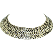 Early Sterling Silver Mexican Very Wide Collar Necklace Solid Sterling  Eagle 14