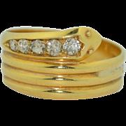 Large Late Victorian 18K Diamond Snake Ring .53CWT  SZ 12US