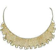 Solid 14K Yellow & White Gold Lace Wavy Necklace 1980's ~ 17.6 grams