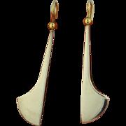 Modernist 14K & Sterling Silver Long Dangle Earrings -1990