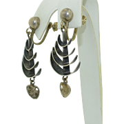 Sterling Silver Mexican Fish Bone Earrings Signed 1940's/50's