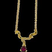 14K Rubellite Tourmaline 3CTW & Diamond Necklace