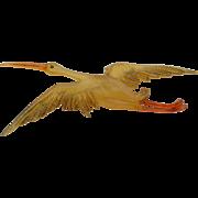 Art Nouveau R. Lucas Signed Large Heron Horn Brooch