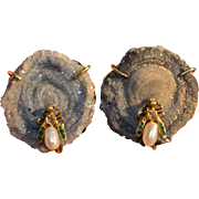 Incredible 14K Geode Fly Cufflinks with Diamonds Emeralds Sapphires & Pearls