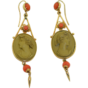 Glorious Victorian Lava Cameo and Coral Earrings 9K Yellow Gold Left and Right Facing