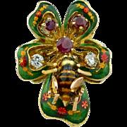 12K Enamel Diamonds & Rubies Insect Bee Ring
