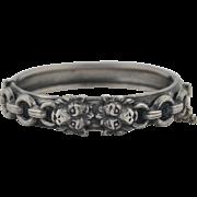 Art Nouveau Sterling Silver Lion Bracelet Bangle