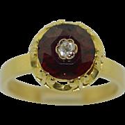 Victorian 14K & 10K Garnet & Diamond Ring